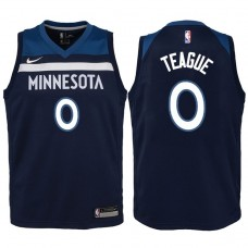 Youth 2017-18 Season Jeff Teague Minnesota Timberwolves #0 Icon Navy Swingman Jersey