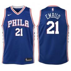 Youth 2017-18 Season Joel Embiid Philadelphia 76ers #21 Icon Blue Swingman Jersey
