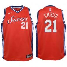 Youth 2017-18 Season Joel Embiid Philadelphia 76ers #21 Statement Red Swingman Jersey