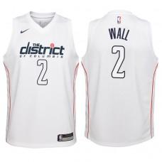 Youth 2017-18 Season John Wall Washington Wizards #2 City Edition White Swingman Jersey