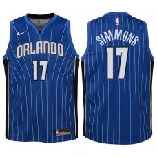 Youth 2017-18 Season Jonathon Simmons Orlando Magic #17 Icon Blue Swingman Jersey