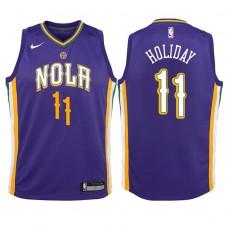 Youth 2017-18 Season Jrue Holiday New Orleans Pelicans #11 City Edition Purple Swingman Jersey