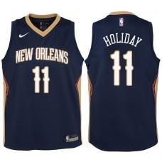 Youth 2017-18 Season Jrue Holiday New Orleans Pelicans #11 Icon Navy Swingman Jersey
