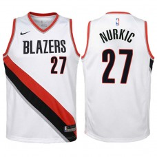 Youth 2017-18 Season Jusuf Nurkic Portland Trail Blazers #27 Association White Swingman Jersey