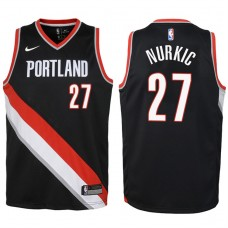 Youth 2017-18 Season Jusuf Nurkic Portland Trail Blazers #27 Icon Black Swingman Jersey