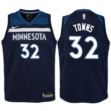 Youth 2017-18 Season Karl-Anthony Towns Minnesota Timberwolves #32 Icon Navy Swingman Jersey