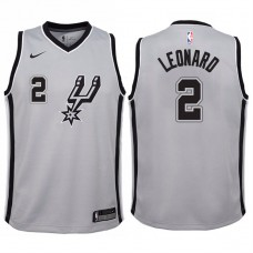 Youth 2017-18 Season Kawhi Leonard San Antonio Spurs #2 Statement Gray Swingman Jersey
