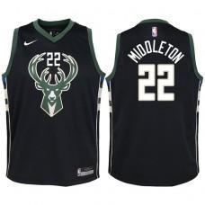 Youth 2017-18 Season Khris Middleton Milwaukee Bucks #22 Statement Black Swingman Jersey