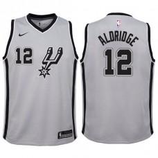Youth 2017-18 Season LaMarcus Aldridge San Antonio Spurs #12 Statement Gray Swingman Jersey