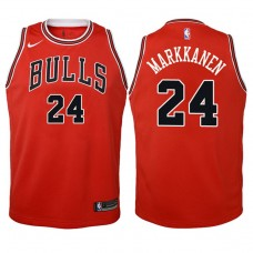 Youth 2017-18 Season Lauri Markkanen Chicago Bulls #24 Icon Red Swingman Jersey