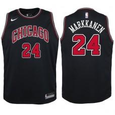 Youth 2017-18 Season Lauri Markkanen Chicago Bulls #24 Statement Black Swingman Jersey