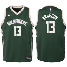 Youth 2017-18 Season Malcolm Brogdon Milwaukee Bucks #13 Icon Green Swingman Jersey