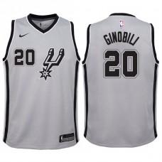 Youth 2017-18 Season Manu Ginobili San Antonio Spurs #20 Statement Gray Swingman Jersey