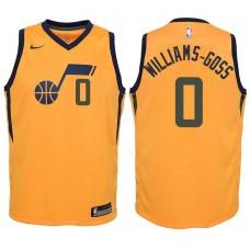 Youth 2017-18 Season Nigel Williams-Goss Utah Jazz #0 Statement Yellow Swingman Jersey