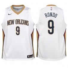 Youth 2017-18 Season Rajon Rondo New Orleans Pelicans #9 Association White Swingman Jersey
