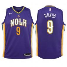 Youth 2017-18 Season Rajon Rondo New Orleans Pelicans #9 City Edition Purple Swingman Jersey