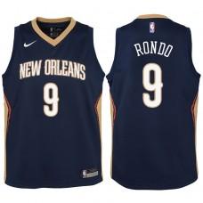 Youth 2017-18 Season Rajon Rondo New Orleans Pelicans #9 Icon Navy Swingman Jersey