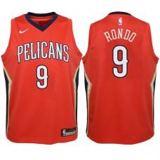 Youth 2017-18 Season Rajon Rondo New Orleans Pelicans #9 Icon Red Swingman Jersey