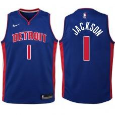 Youth 2017-18 Season Reggie Jackson Detroit Pistons #1 Icon Blue Swingman Jersey