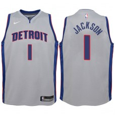 Youth 2017-18 Season Reggie Jackson Detroit Pistons #1 Statement Gray Swingman Jersey