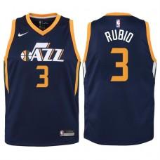Youth 2017-18 Season Ricky Rubio Utah Jazz #3 Icon Navy Swingman Jersey