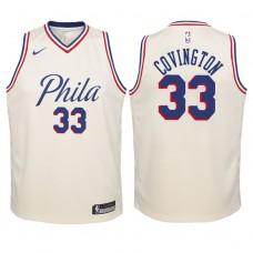 Youth 2017-18 Season Robert Covington Philadelphia 76ers #33 City Edition Cream Swingman Jersey
