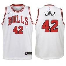 Youth 2017-18 Season Robin Lopez Chicago Bulls #42 Association White Swingman Jersey