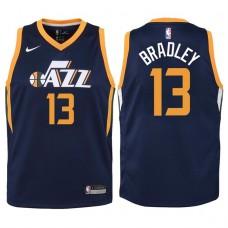 Youth 2017-18 Season Tony Bradley Utah Jazz #13 Icon Navy Swingman Jersey