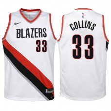 Youth 2017-18 Season Zach Collins Portland Trail Blazers #33 Association White Swingman Jersey